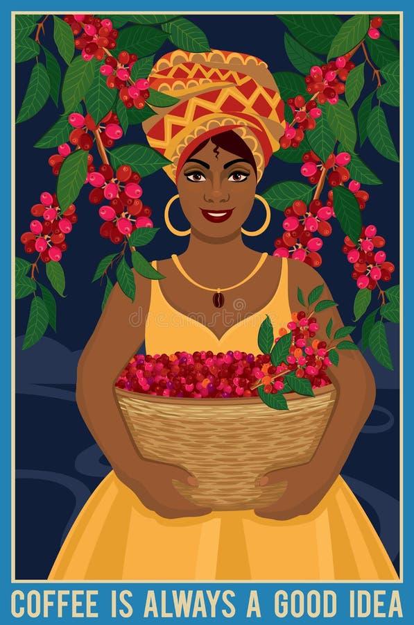 La conception d'une affiche avec la femme africaine avec un panier moissonne des grains de café d'arabica illustration libre de droits