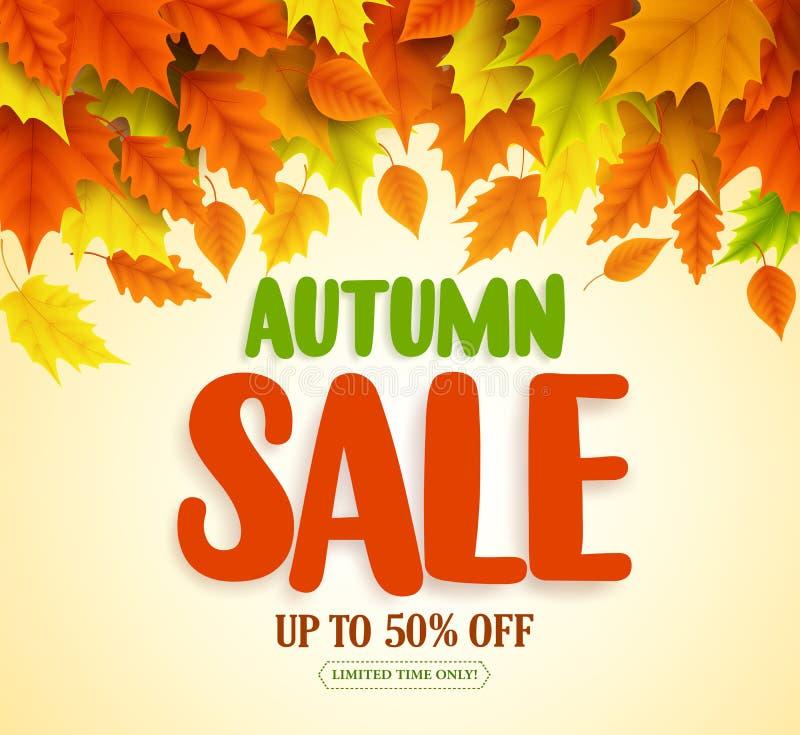 La conception de bannière de vecteur des textes de vente d'automne avec l'automne coloré laisse la chute illustration de vecteur