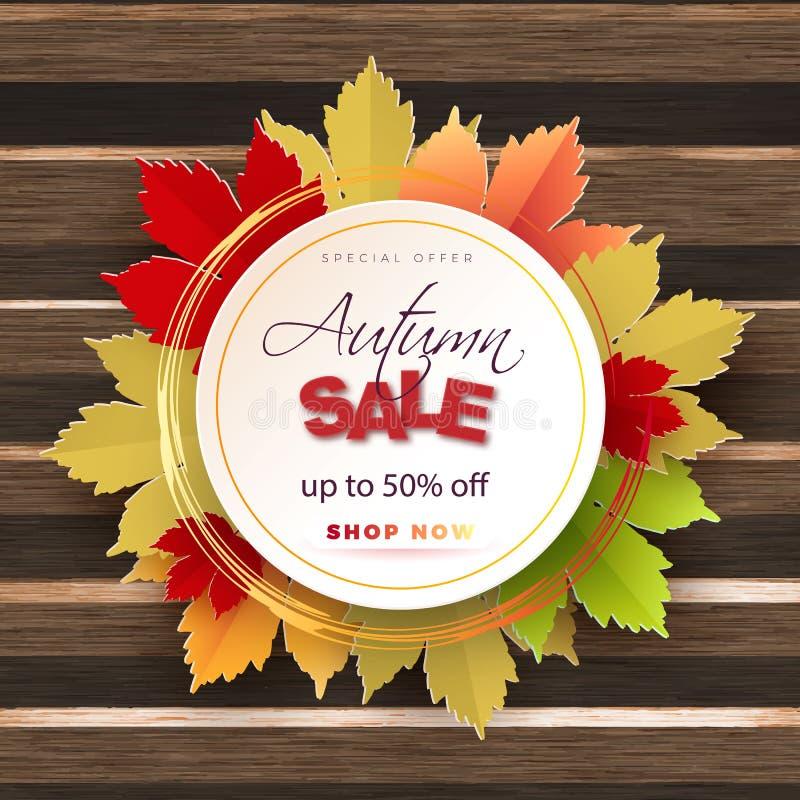 La conception de bannière de vecteur des textes de vente d'automne avec les feuilles colorées de saison d'automne tombent à l'arr illustration de vecteur