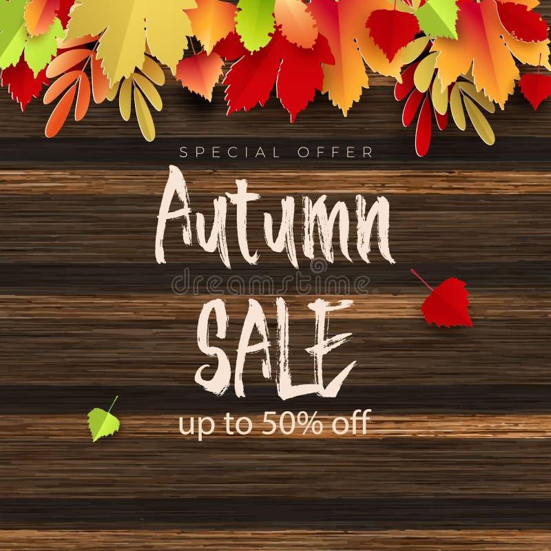 La conception de bannière de vecteur des textes de vente d'automne avec les feuilles colorées de saison d'automne tombent à l'arr illustration stock
