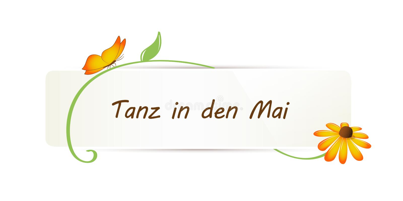 La conception de célébration de mayday avec le papillon de fleur et la danse allemande des textes dans peut illustration stock