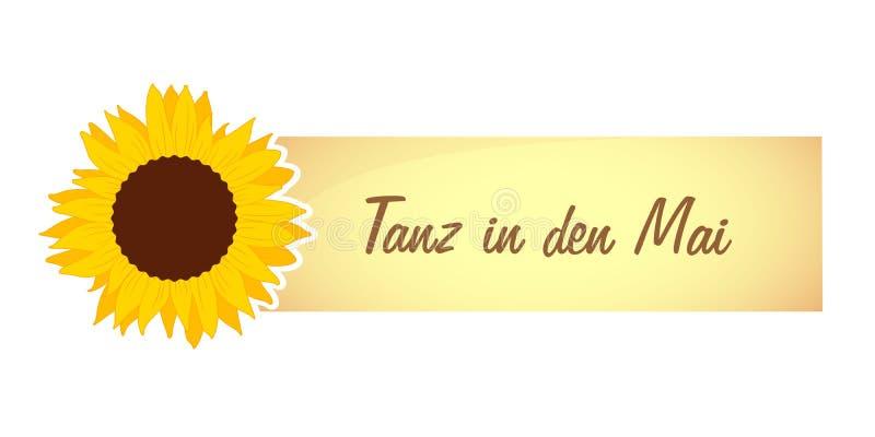 La conception de célébration de mayday avec le tournesol et la danse allemande des textes dans peut illustration libre de droits