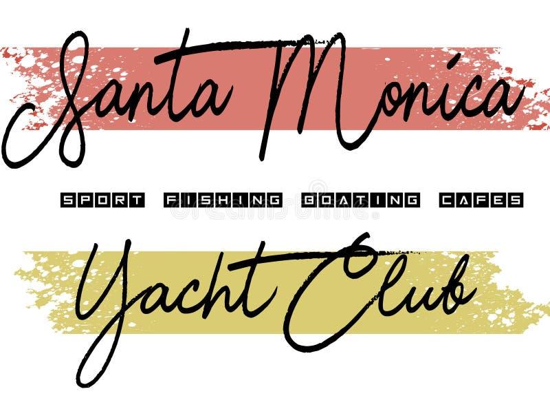 La conception de club de yatch de Santa Monica a coloré illustration stock