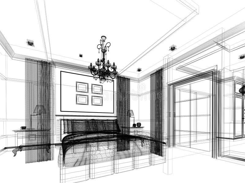 La conception de croquis de la chambre à coucher, 3d rendent illustration libre de droits