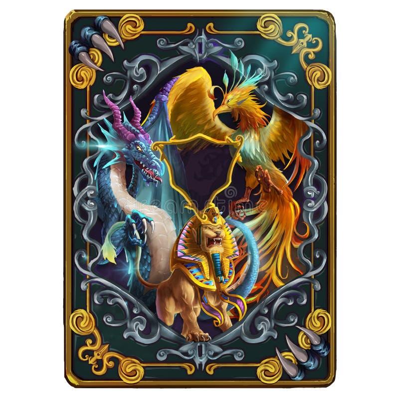 La conception de dos de carte au sujet des créatures mythiques de mystère des Moyens Âges et médiéval Dragon, Phoenix et sphinx illustration stock