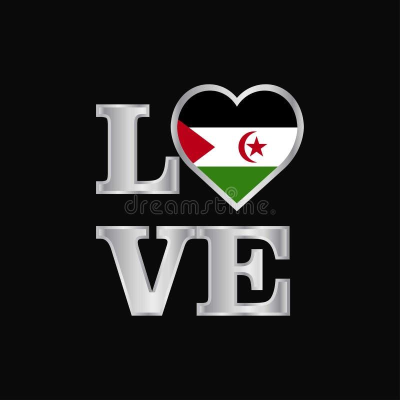 La conception de drapeau de la Sahara occidental de typographie d'amour dirigent le beau lett illustration libre de droits