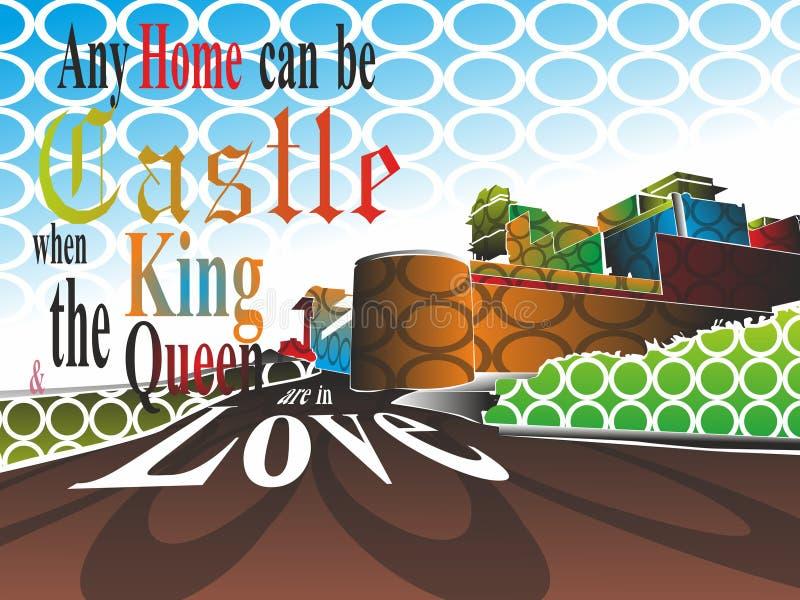 La conception de Febric, n'importe quelle maison peut être château quand le roi illustration libre de droits