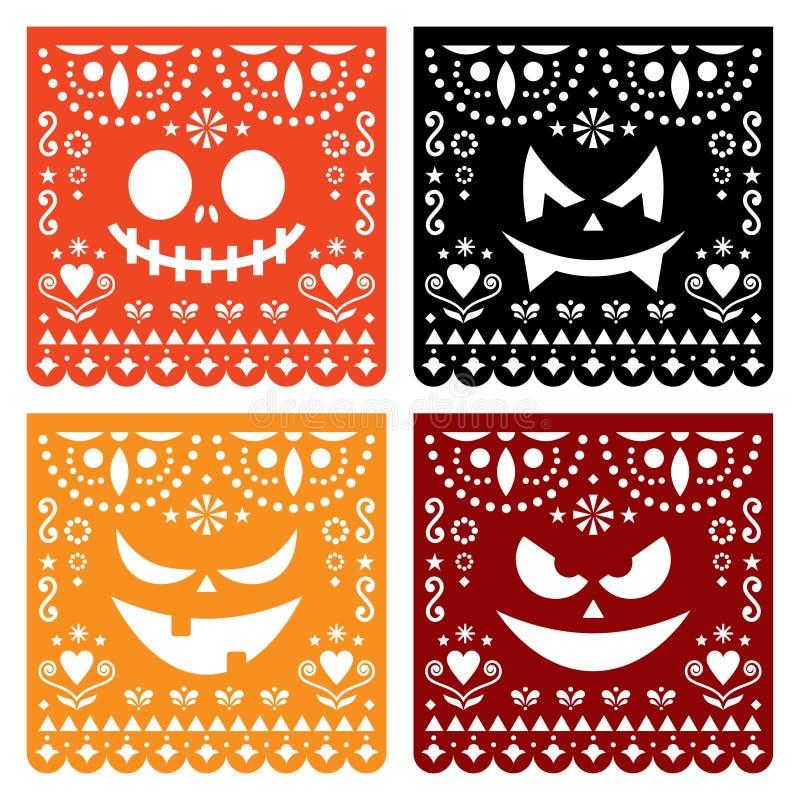 La conception de Halloween Papel Picado avec les visages effrayants de potiron, papier mexicain a coupé la collection de modèle - illustration stock