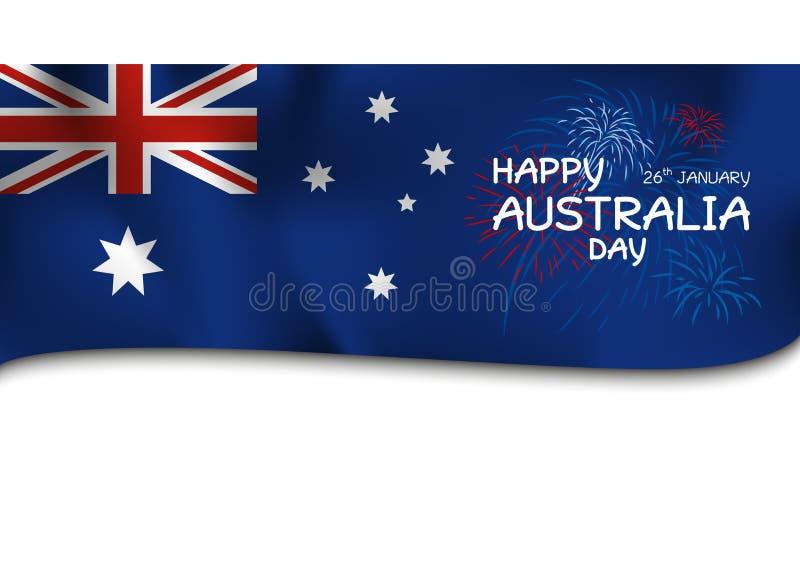 La conception de jour d'Australie du drapeau et le feu d'artifice dirigent l'illustration illustration de vecteur