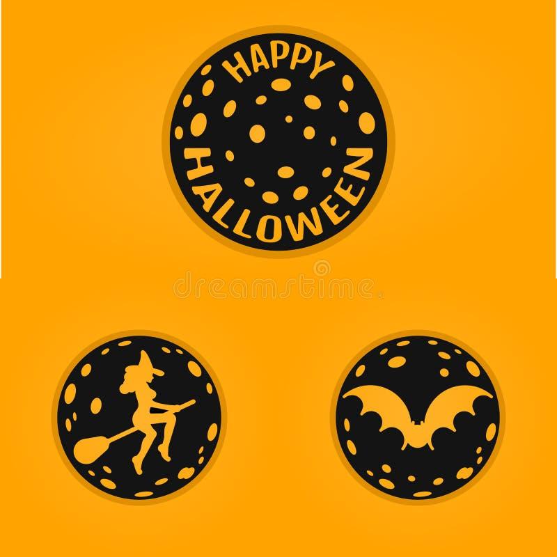 La conception de l'avant-projet heureuse de Halloween badges dans la ligne style avec la chauve-souris, sorcière, lune illustration stock