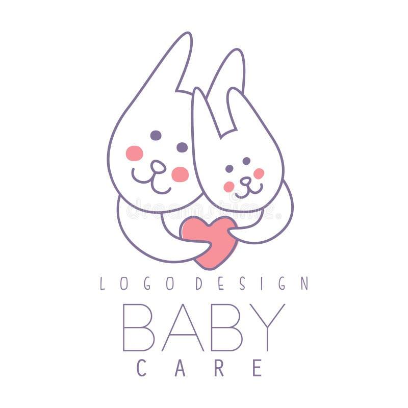 La conception de logo de soin de bébé, emblème avec deux lapins mignons avec le coeur, label pour des enfants matraquent, le bébé illustration libre de droits