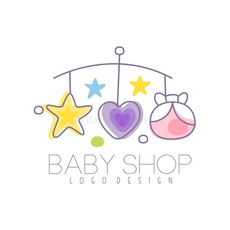 La conception de logo de soin de bébé, emblème avec le carrousel de lit de bébé, label pour des enfants matraquent, le bébé ou le illustration de vecteur