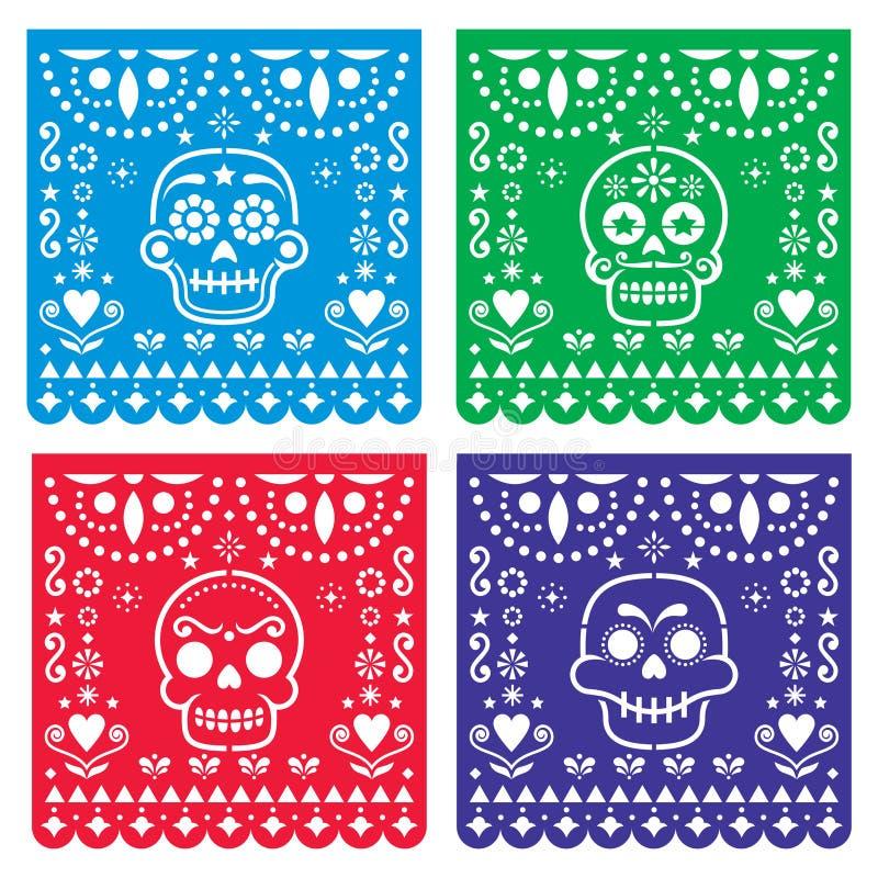 La conception de Papel Picado avec des crânes de sucre, papier mexicain a coupé la collection de modèle - Halloween, Dia de Los M illustration de vecteur