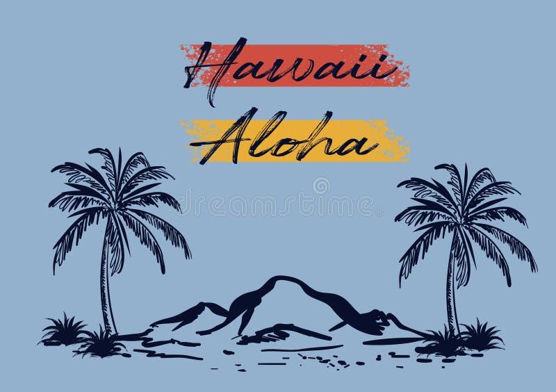 La conception de plage d'Hawaï aloha a coloré illustration libre de droits