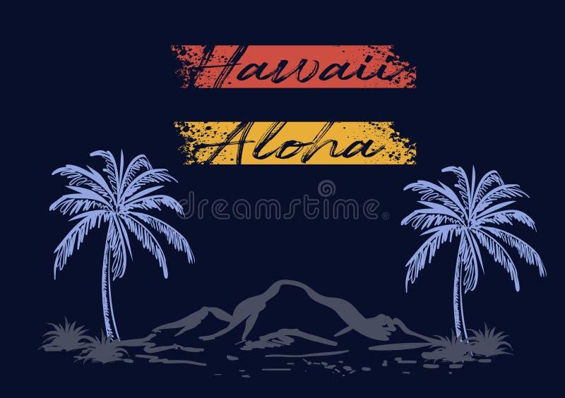 La conception de plage d'Hawaï aloha a coloré illustration stock