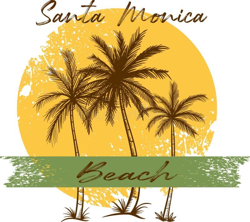 La conception de plage de Santa Monica a coloré illustration libre de droits