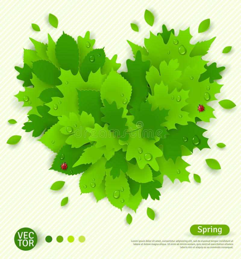 La conception de ressort avec des feuilles de vert a formé le coeur illustration libre de droits