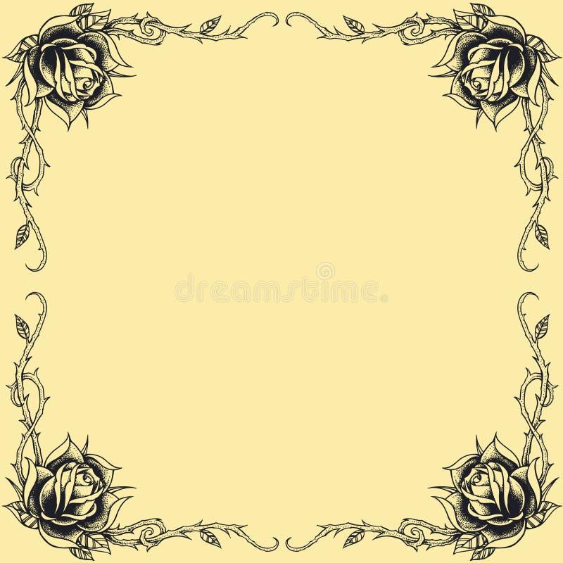 La conception de style de tatouage d'oldskool de cadre de roses a placé 01 illustration de vecteur