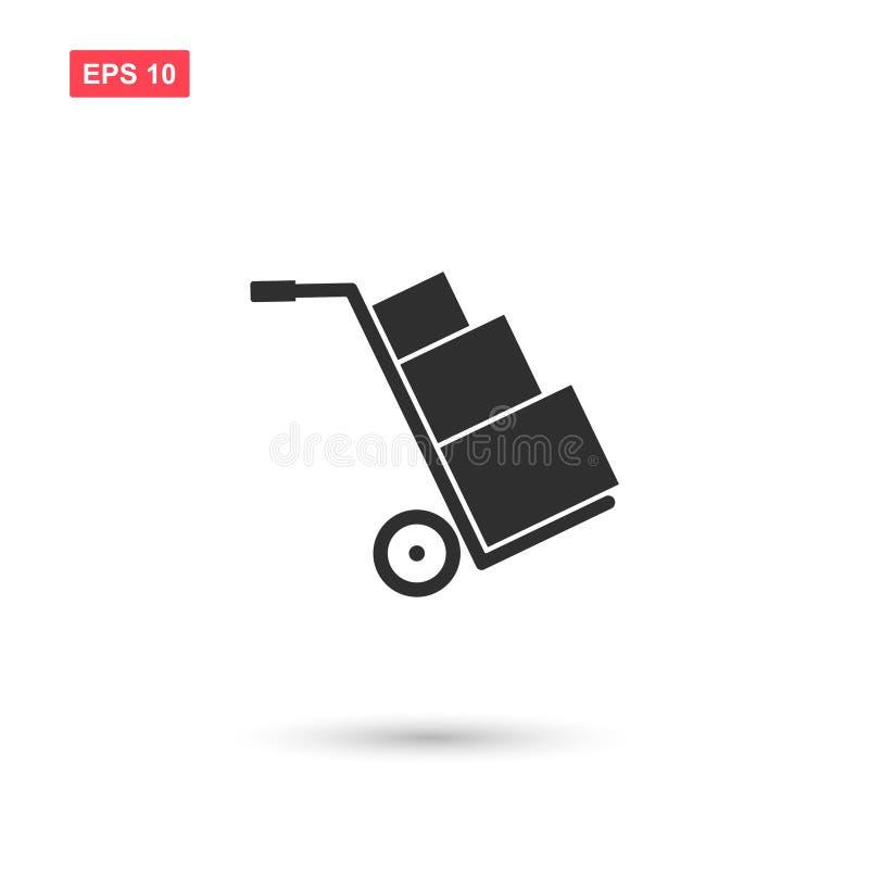 La conception de transport d'icône de vecteur de boîtes de chariot a isolé 2 illustration libre de droits