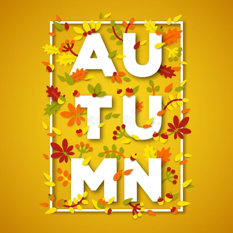 La conception de typographie d'automne avec le livre blanc a coupé le texte illustration de vecteur