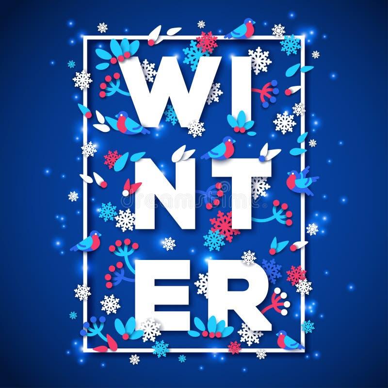 La conception de typographie d'hiver avec le livre blanc a coupé le texte illustration libre de droits