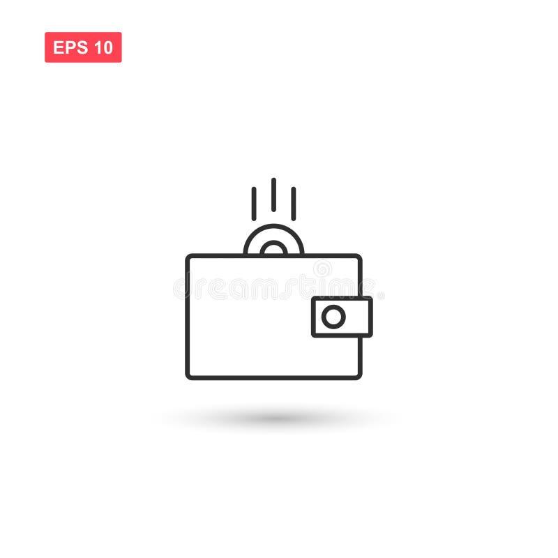 La conception de vecteur d'icône d'argent de portefeuille a isolé 2 illustration de vecteur