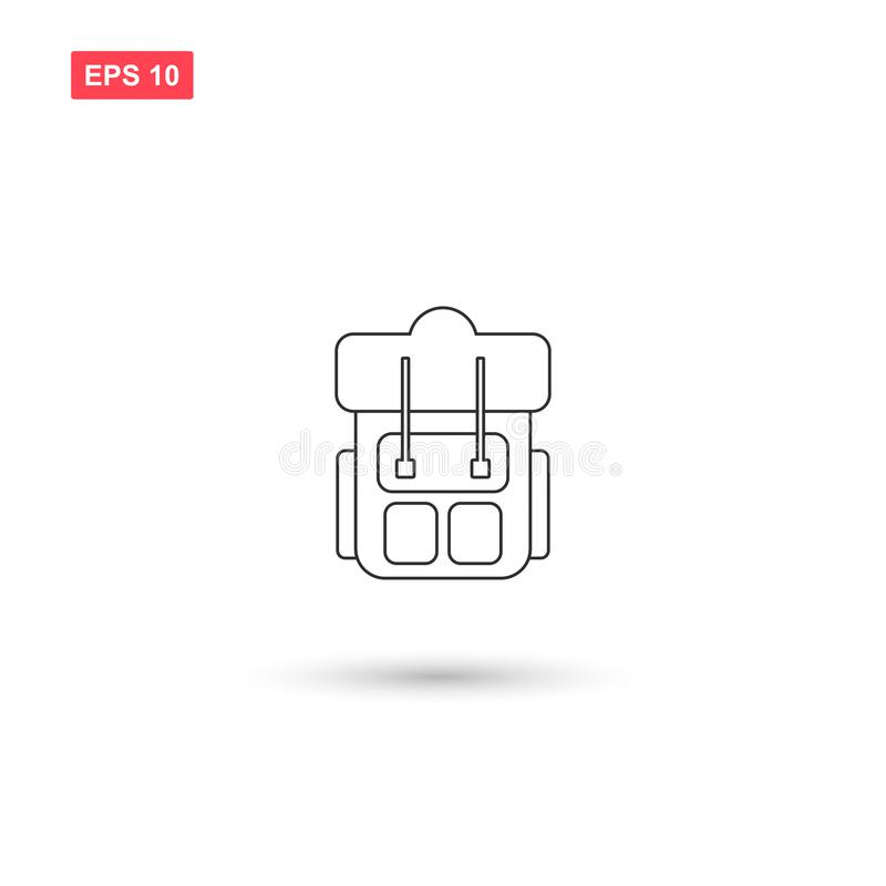 La conception de vecteur d'icône de sac à dos de sac à dos a isolé 3 illustration libre de droits