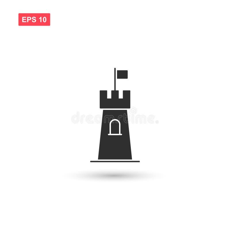 La conception de vecteur d'icône de tour de forteresse a isolé 2 illustration stock