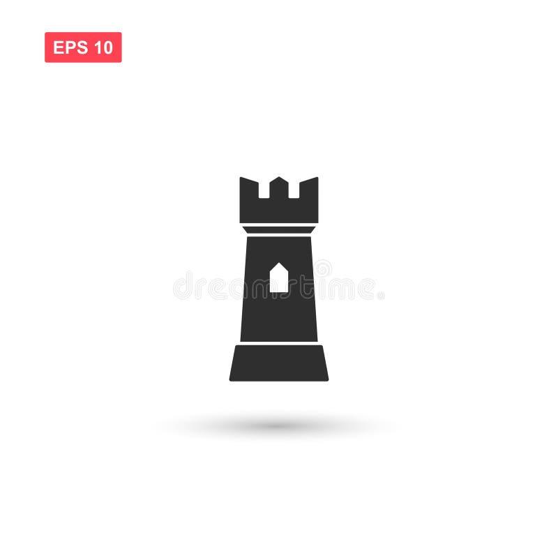 La conception de vecteur d'icône de tour de forteresse a isolé 3 illustration stock