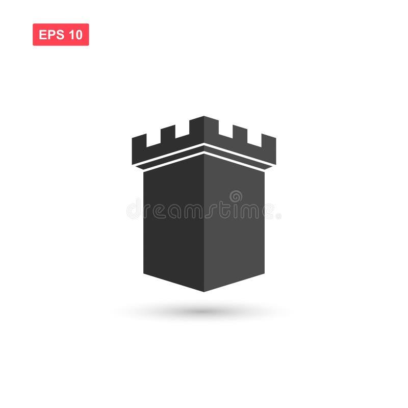 La conception de vecteur d'icône de tour de forteresse a isolé 5 illustration de vecteur