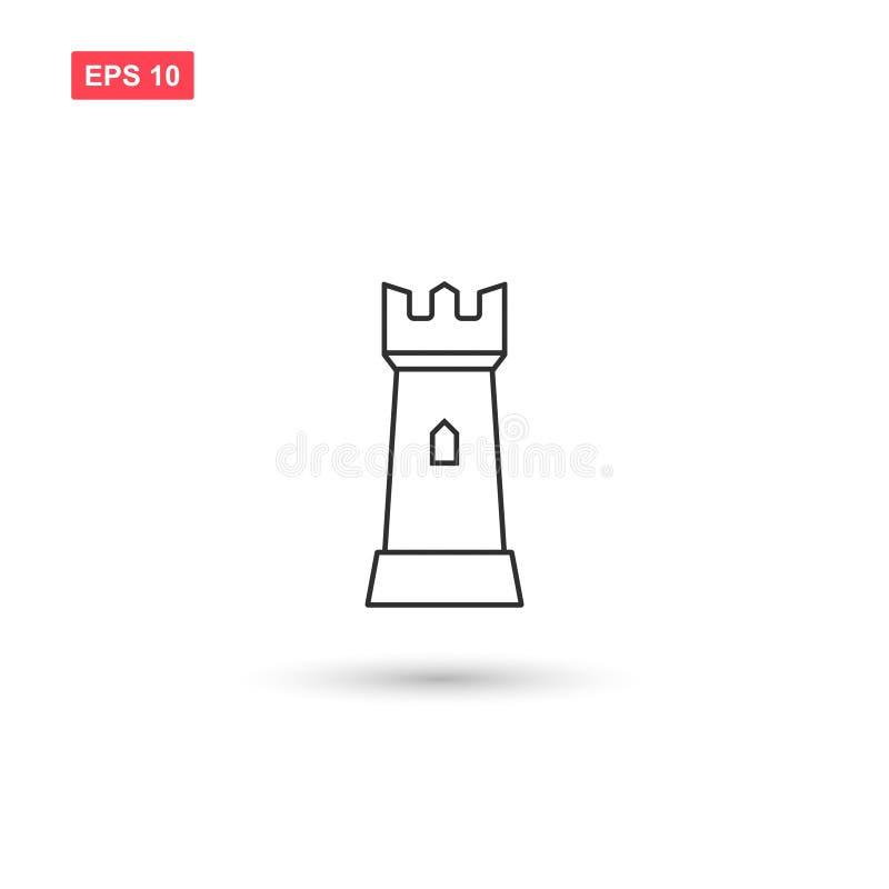 La conception de vecteur d'icône de tour de forteresse a isolé 4 illustration libre de droits