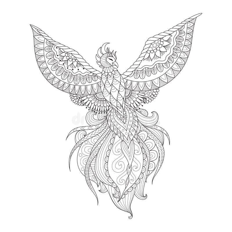 La conception de Zendoodle de l'oiseau de Phoenix pour le tatouage, la conception de T-shirt, la page adulte de livre de coloriag illustration stock