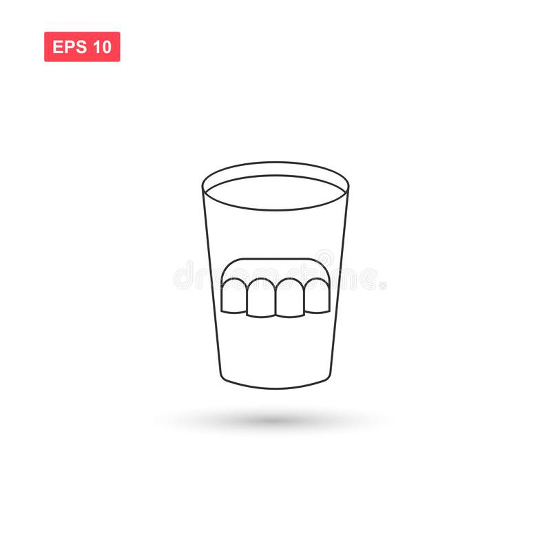 La conception en verre de vecteur d'icône de dentier a isolé 3 illustration stock