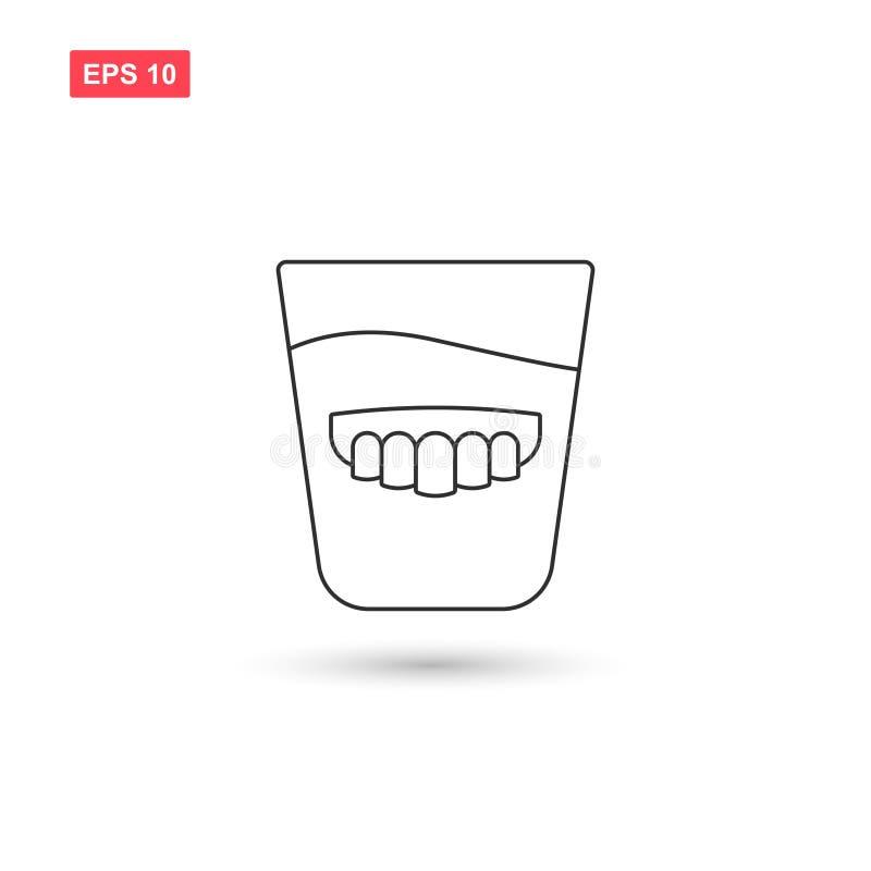 La conception en verre de vecteur d'icône de dentier a isolé illustration stock