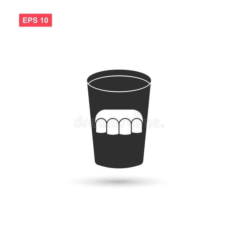 La conception en verre de vecteur d'icône de dentier a isolé 4 illustration libre de droits