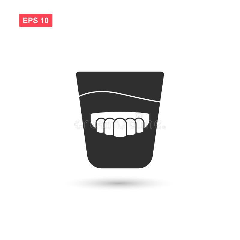 La conception en verre de vecteur d'icône de dentier a isolé 2 illustration de vecteur