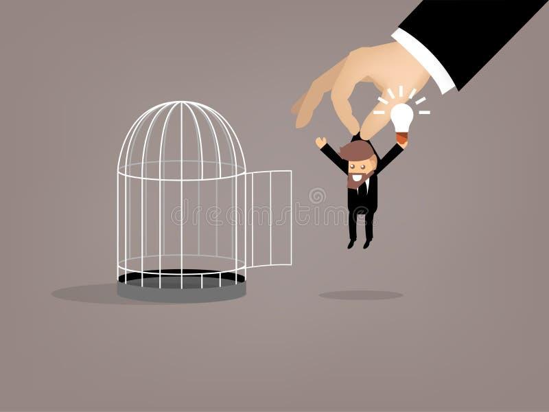 La conception graphique de l'homme d'affaires s'est échappée de la cage à oiseaux par bonne idée illustration stock