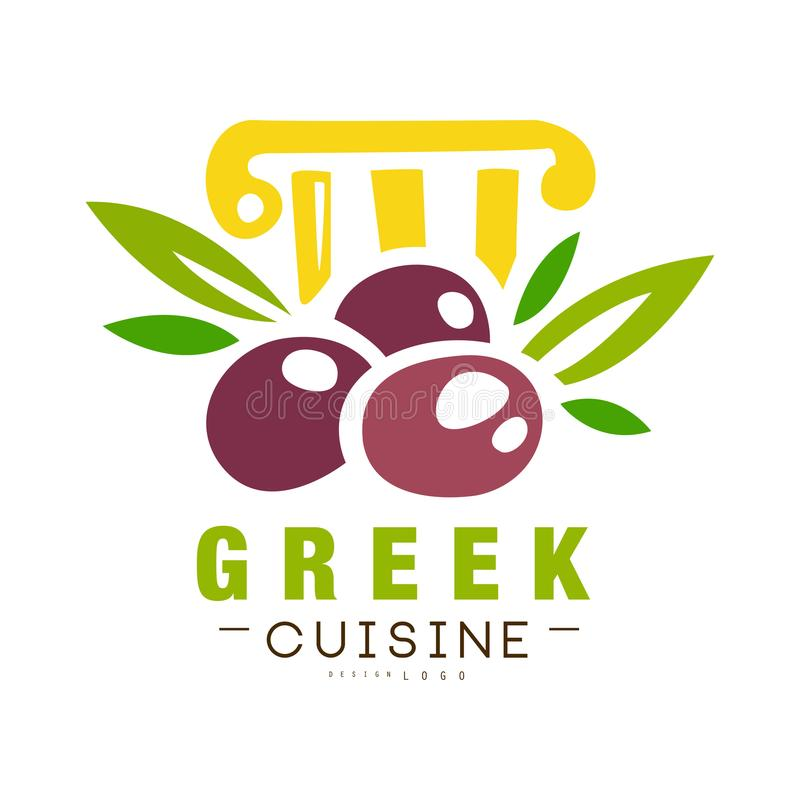 La conception grecque de logo de cuisine, label continental traditionnel authentique de nourriture peut être employée pour la bou illustration de vecteur