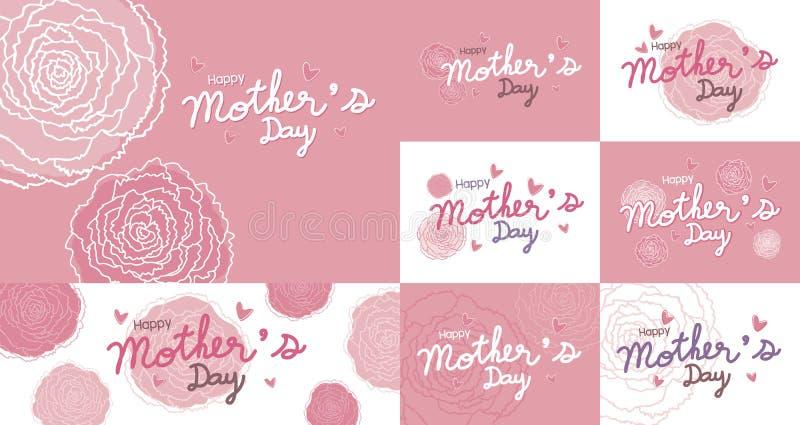 La conception heureuse de jour de mères et l'oeillet rose fleurit le fond illustration libre de droits
