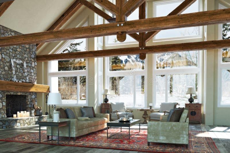 La conception intérieure de chambre familiale de carlingue ouverte luxueuse de plancher avec la bougie a allumé la cheminée en pi illustration stock