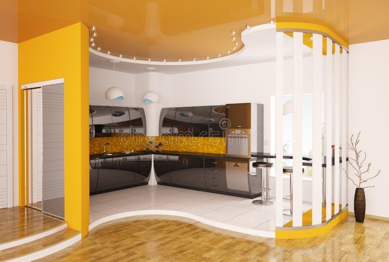 La conception intérieure de la cuisine moderne 3d rendent illustration stock