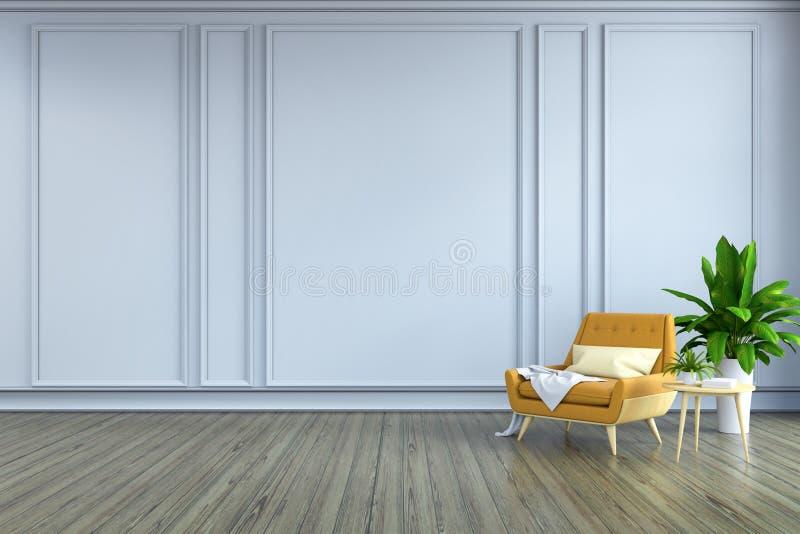 La conception intérieure de pièce minimaliste, le fauteuil jaune et la lampe blanche sur le plancher en bois et le mur blanc /3d  illustration libre de droits