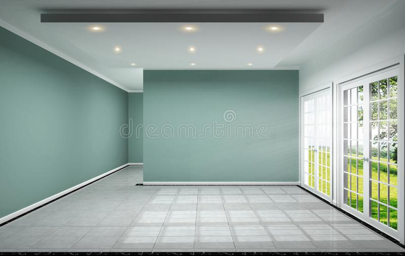 La conception intérieure de pièce vide a le mur en bon état sur le rendu de la conception 3D de tuile illustration de vecteur
