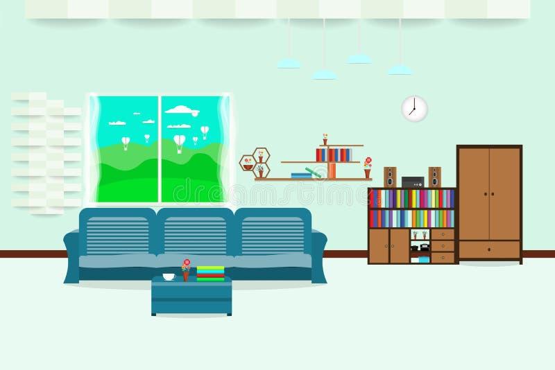 La conception intérieure de salon détendent avec le pré de paysage de nuage de ciel de fenêtre de sofa et d'étagère à l'arrière-p illustration de vecteur