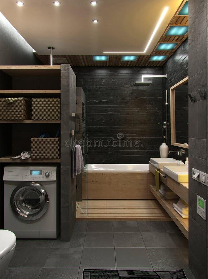 La conception intérieure minimaliste de salle de bains, rendent 3D photo libre de droits