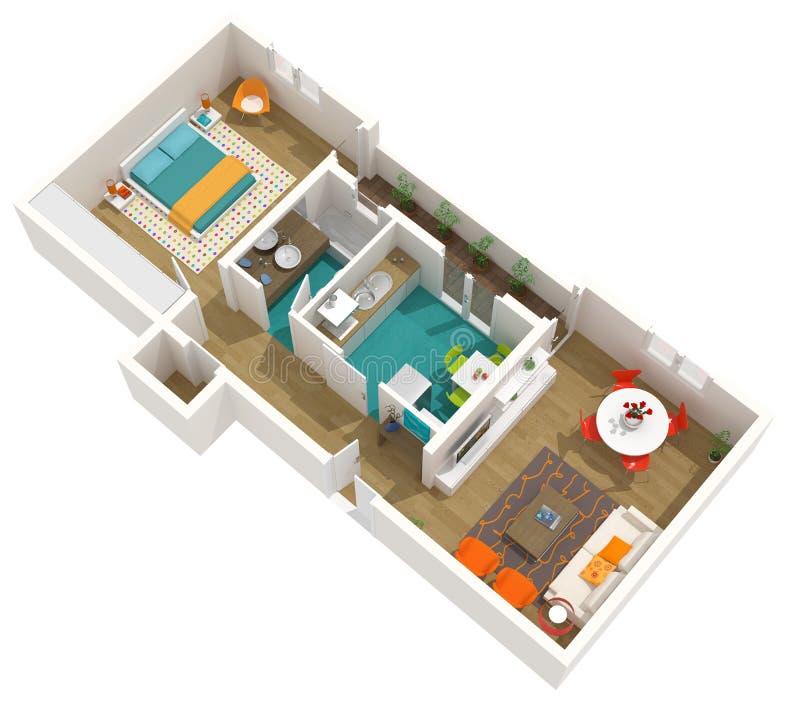 La conception intérieure moderne, 3d autoguident le projet : appartement illustration stock