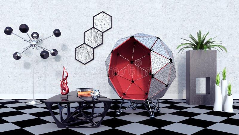 La conception intérieure moderne du salon futuriste 3d rendent illustration libre de droits