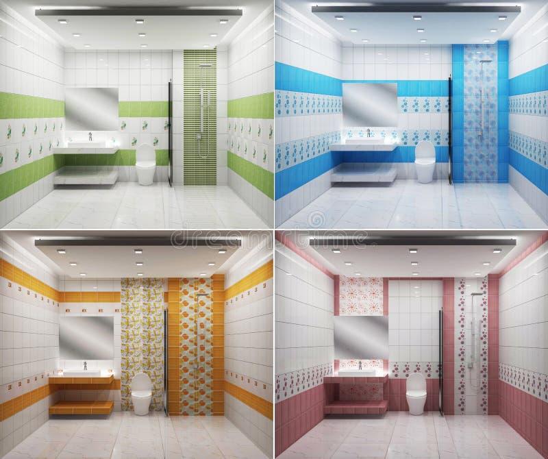 Salle De Bains Bleue Et Verte Illustration Stock ...