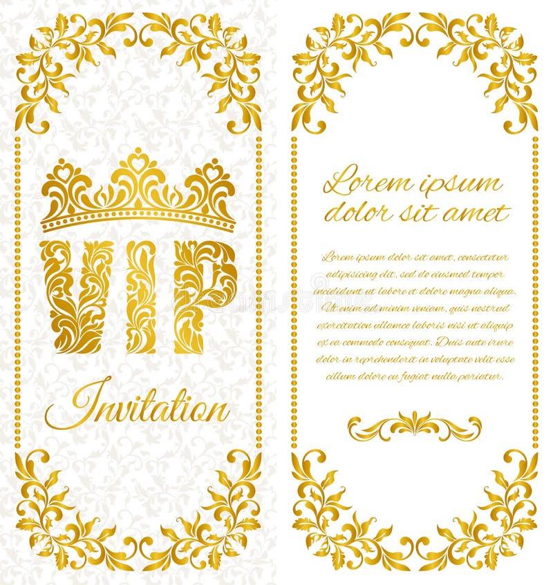 La conception luxueuse de l'insecte Inscription VIP de modèle décoratif floral sur un fond blanc illustration libre de droits