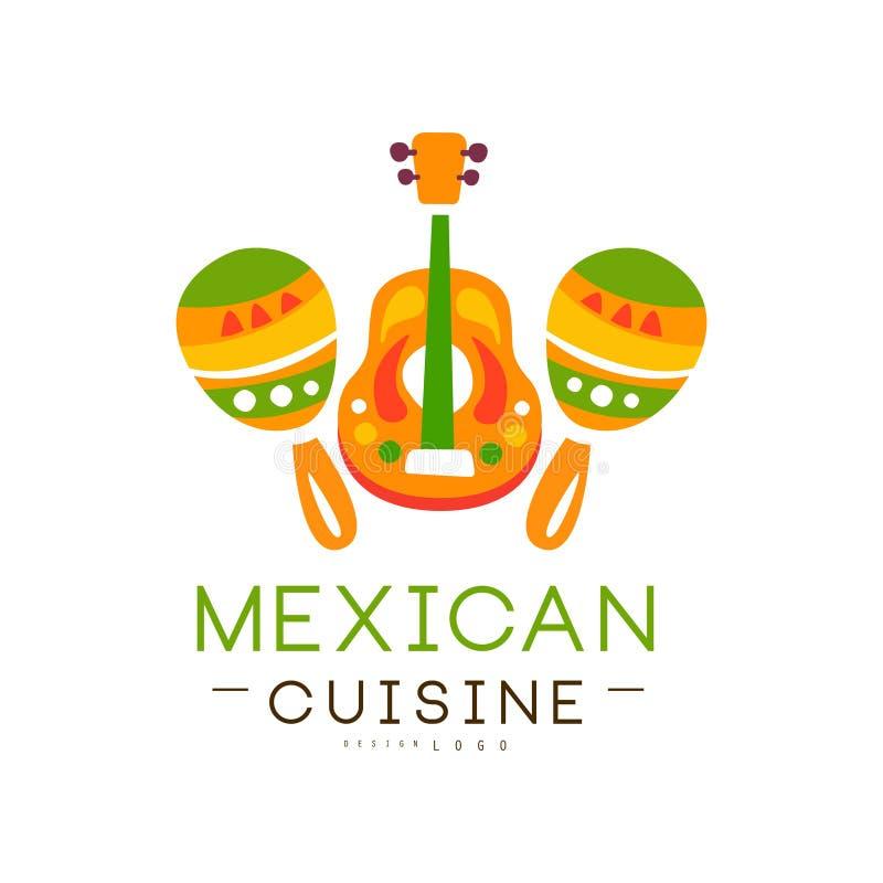 La conception mexicaine de logo de cuisine, label continental traditionnel authentique de nourriture peut être employée pour la b illustration stock